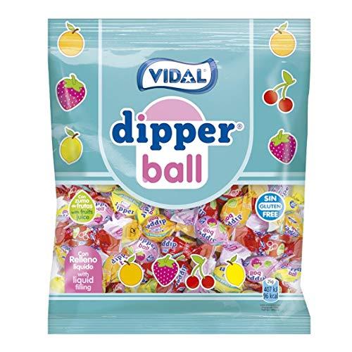 Vidal Golosinas Dipper Ball. Caramelo blando relleno de golo