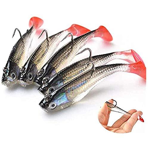 WYMAODAN Set di esche da pesca, 5 pezzi 8 cm Esca morbida Testa di piombo Esche per pesci di mare Attrezzatura da pesca Sharp Treble Hook T Tail Esca artificiale