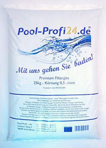 Pool-Profi24 Filterglas für Pool | 25kg Filtergranulat für Sandfilteranlagen | Glasfiltersand 0,5-1,0mm Körnung