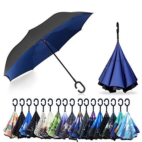YOKITOMO 長傘 逆さ傘 丈夫 撥水 内外2枚の布の構成で耐風 熱中症対策 完全遮光 遮熱効果 閉じると自立可...
