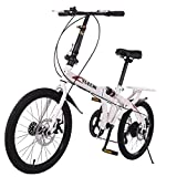 AOCEOSK 20'' Folding City Bike, Travel Bike 7-Speed Folding Mountain Bike Off-Road Students Adult Men and Women Race Bike, Foldable Compact Bicycle