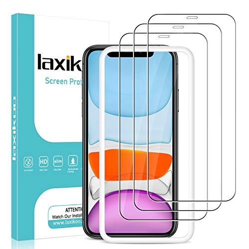 laxikoo 3 Pezzi Vetro Temperato per iPhone 11 /iPhone XR (6,1''), Durezza 9H Pellicola Protettiva iPhone XR con Cornice di allineamento Senza Bolle Protezione Schermo per iPhone 11/XR - Trasparente