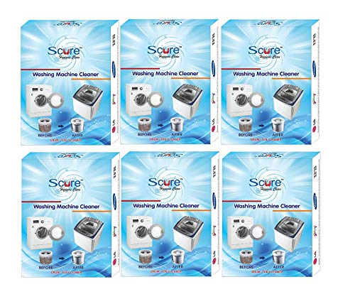 Scure Washing Machine Cleaner Powder for Cleaning/Descaler For Tub & Drum.Set of Six 100 Gm Each