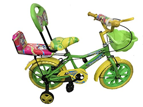 """Rising India 14"""" Green Kids Bicycle for 3-5 Years Double Seated with Basket and Side Wheel."""