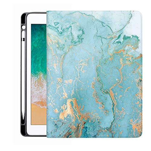 Sahoprt New iPad Pro 12.9 Inch Case 4th Generation 2020 Cover with Pencil Holder, PU Leather Silicone Shell Folio Soft TPU Back Cover, Multi-Angle Viewing for Apple Tablet, Green Marble