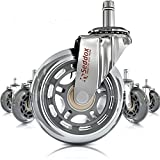 Professional Office Chair Wheels 10mm Stem - FIT IKEA Chairs ONLY - 3'' Replacement Rollerblade Rubber Chair Casters - Best Protection for Your Hardwood Floors Without Any Chair MATS - Silver