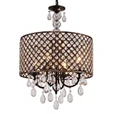 Q&S Modern Round Crystal Chandelier Light Fixtures,Black+Antique Copper Beaded Drum Shade Pendant Hanging Lighting Perfect for Living Room Dining Room Bedroom Kitchen Foyer Entryway,E12 4-Lights.