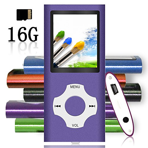 Tomameri - Portable MP3 / MP4 Player with Rhombic Button, Including a 16 GB Micro SD Card and Support Up to 64GB, Compact Music, Video Player, Photo Viewer Supported - Purple-with-White