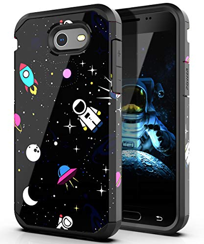 PBRO Galaxy J3 (2017) Case, Cute Astronaut Case Dual Layer Protective Anti-Scratch Shockproof Cover for Samsung Galaxy Express Prime 2/ Amp Prime 2/ Sol 2/ J3 Emerge/ J3 Prime/ J3 Luna Pro Space/Black