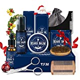 Kit de Barbe Homme, Y.F.M Coffret barbe homme complet avec Conditionneur de Barbe, Tablier Barbe Libre, Huile Barbe, Peigne, Brosse, Peigne Pochoir, Les ciseaux, 2 Ventouses, Barbe homme cadeau