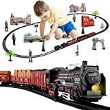 Temi Electric Train Set for Kids, Battery-Powered Train Toys with Light Include Locomotive Engine, 3 Cars and 18 Tracks, Classic Toy Train Set Gifts for 3 4 5 6 Years Old Boys Girls