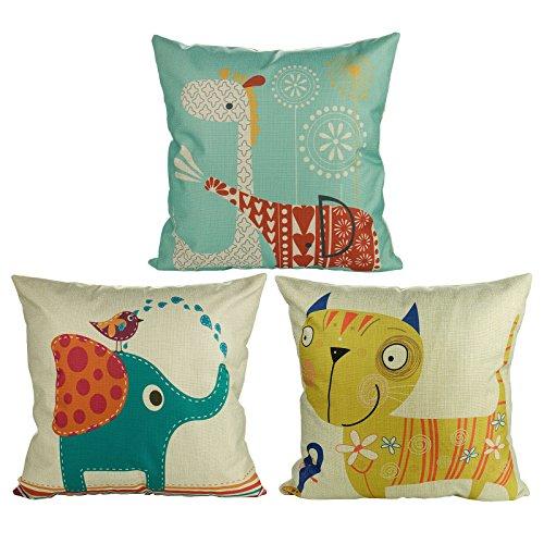 Luxbon, 3 federe per Cuscino Lombare con Elefante, Gatto, Giraffa, per casa, Auto, caffetteria, Festa dei Bambini, Decorazione 18 x 18 Pollici
