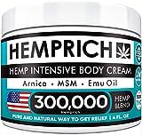 Hemp Cream 300,000 | 4oz - Made in USA - Back, Neck, Knee Pain Relief - Natural Hemp Oil Cream - Anti Inflammatory - Fast Sore Muscle & Joint Relief - Arnica, MSM, EMU Oil & Glucosamine - Non-GMO