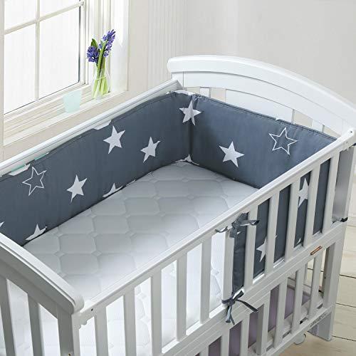 Bettumrandung Luchild Baby Nestchen für Babybett Babybett baby Nest Kopfschutz Nestchen babybettumrandung Kantenschutz Bettausstattung Sternchen Blau 180 x 28cm