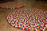 Happy As Larry Original Multicolor Felt Ball Rug - Handmade in Nepal (3'3