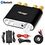 S800 100W Bluetooth Audio Amplifier DC 12 Volt with Power Supply 12V 5A, 50W + 50W Dual Channels HIFI Stereo Bluetooth 4.0 Receiver Bass Amp, Home Car Amplifi Built-in EMI Filter - Black