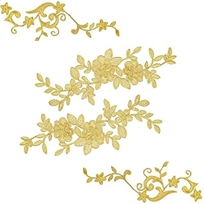 BEAUTIFUL EMBROIDERED APPLIQUE: Perfect for lingerie, dresses, dolls, altered art, couture, costume, jewelry design pillowcase, home decor,etc. SIZE: 4.2*11.1 inch,7.9*2.8 inch. COLOR: gold. MATERIAL: Polyester; Package includes:2 Pairs flower patche...