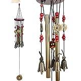 Vent Chimes Bronze Métal Vent Charms 4 Tubes 5 Bells Carillons 60cm Long Approx, Carrousels de Vent Pure à la Main pour Garden Home Outdoor Garden Ornaments (Métal Vent Chimes)