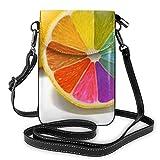 Lawenp Colorido Lemon Crossbody Monedero para teléfono Pequeño Mini bolso de hombro Bolsa para teléfono celular Cartera de cuero para mujeres y niñas