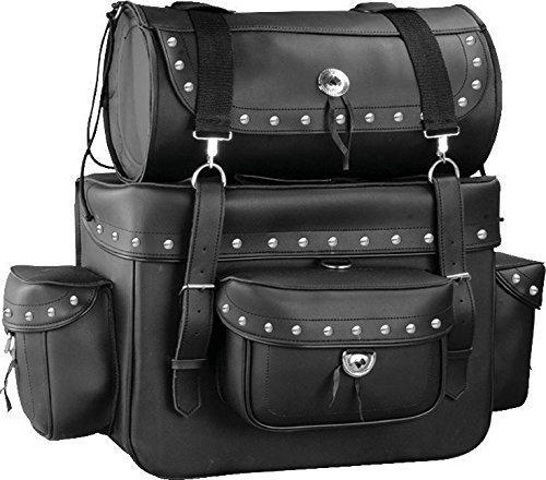 Motorcycle Sissy Bar Touring Luggage w/Studs 2 Piece Bag Set Harley Cruiser (Black)