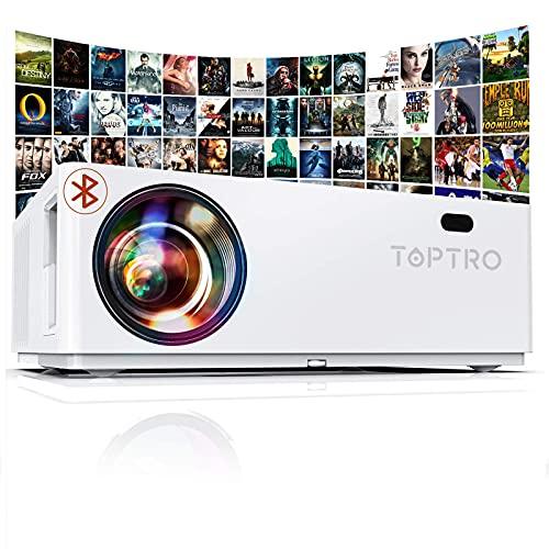 Vidéoprojecteur Bluetooth 7800 LM, TOPTRO Projecteur Full HD, Natif 1920x1080 Soutien 4K, Contraste 10000:1, Correction Digital 4D±50°, Zoom X/Y, Rétroprojecteur LED, Home Cinéma
