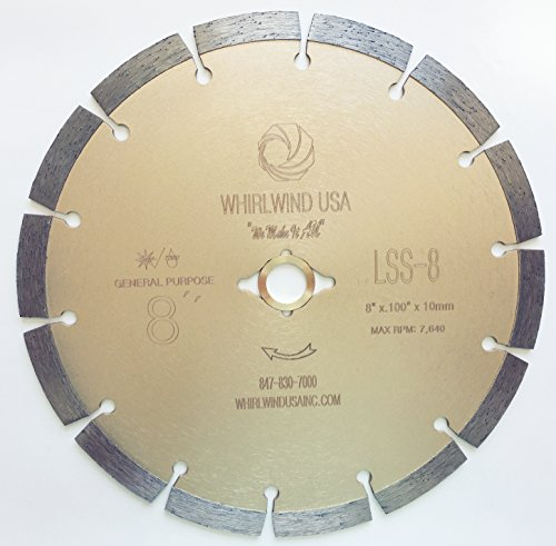 Whirlwind USA LSS 8 in. Dry or Wet Cutting General Purpose Power Saw Segmented Diamond Blades for Masonry Brick/Block Pavers Concrete Stone (Factory Direct Sale) (8')