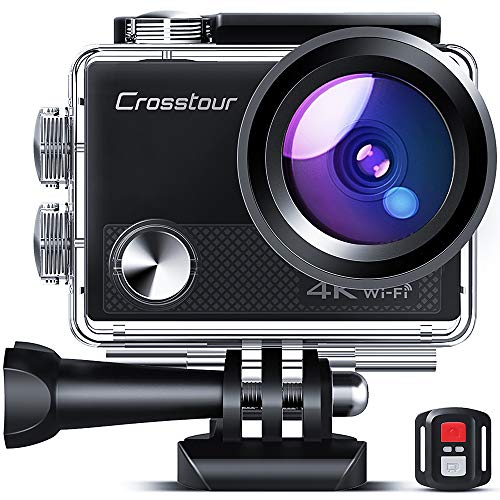 Crosstour CT9100 4K 20MP Action Camera with WiFi EIS LDC Remote Control Sports Camera 40M Waterproof Underwater Camcorder with Accessories Kit