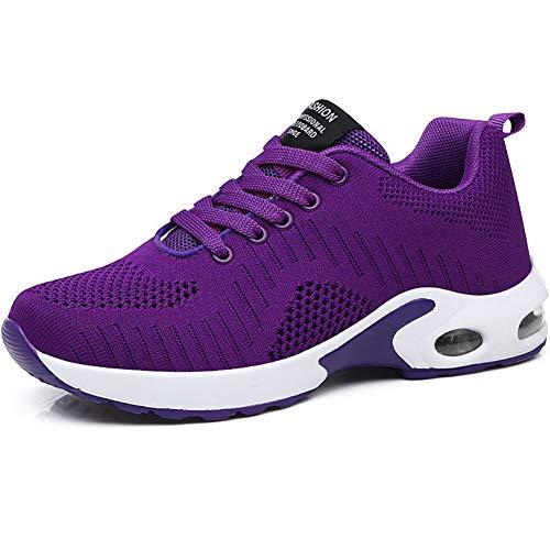 GAXmi Zapatillas Deportivas de Mujer Air Cordones Zapatos de Ligero Running Fitness Zapatillas de para Correr Antideslizantes Amortiguación Sneakers Morado 38 EU