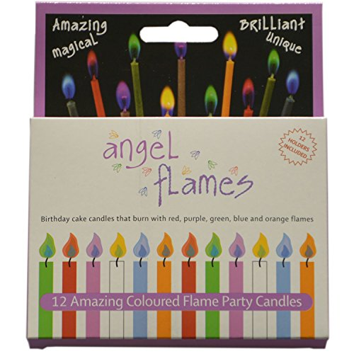 Angel Flames Birthday Cake Candles with Colored Flames (12pcs per Box, Holders Included) (12, Medium)