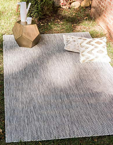Unique Loom Solid Collection Casual Transitional Indoor and Outdoor Flatweave Area Rug, 4' x 6', Light Gray/Gray