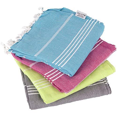 Clotho Turkish Towels Set of 4 Beach Towels Oversized 100% Cotton 39 x 70 inc