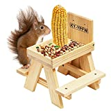 """KY-YPFW Squirrel Table Feeder Chair - Pine Wood Wooden Picnic Feeder with Corn Cob & 0.7"""" Tall Lip..."""