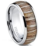 Metal Masters Co. Titanium Ring Wedding Band, Engagement Ring with Real Wood Inlay, 8mm Comfort Fit Size 9