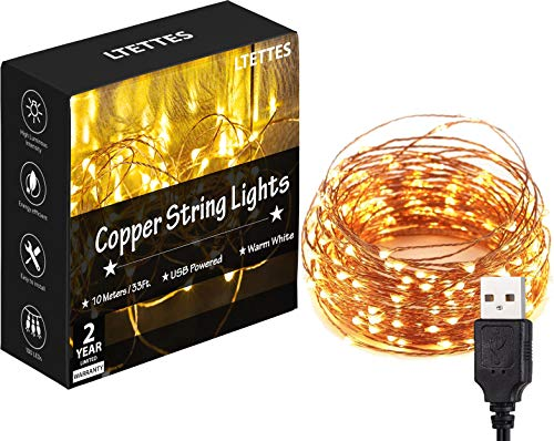 LTETTES 10 Meters 100 LED Copper String Lights IP65 Waterproof 5V USB Powered Warm White Decorative...