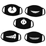 Kaptin 5 Pack Black Teeth Pattern Mouth Mask, Unisex Cotton Blend Anti Dust Face Mask for Men Women (5Pcs, Ordinary Mouth Mask)