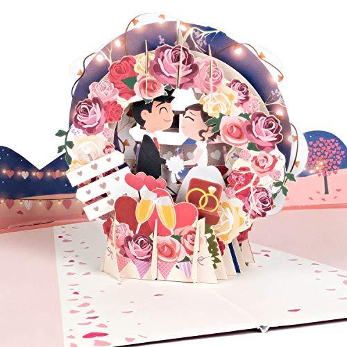 PaperCrush® Pop-Up Karte Hochzeit Brautpaar [NEU!] - Lustige 3D Hochzeitskarte, Geschenkkarte für Standesamt - Romantische Glückwunschkarte zum Hochzeitstag inkl. Umschlag