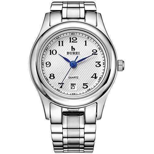 BUREI Herrenuhren Analog Quarz Armbanduhr mit Datumsanzeige und Edelstahlband(Damenuhr (Silber-)