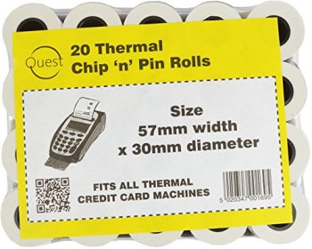 Quest 20 Thermal Chip 'n' Pin Rolls Size: 57mmx30mm Fits All Thermal Credit Card Machines