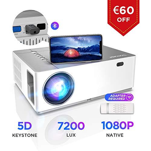 Proiettore BOMAKER 7200 Lumen Nativo Full HD 1080p, ± 50° Correzione Trapezoidale Zoom, 300''Display Supporta...