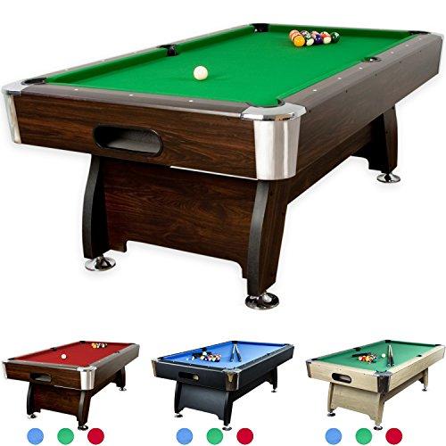 """Maxstore 8 ft Billardtisch Premium"""" + Zubehör, 9 Farbvarianten, 244x132x82 cm (LxBxH), Dunkles Holzdekor, grünes Tuch"""