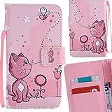 Yiizy Samsung Galaxy S5 G900 Coque Etui, Chatte Rose Design Mince Flip PU Cuir...