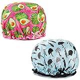 Bonnet de Douche,2 Pcs Bonnets de Douche Imperméables et Réutilisables Pour Les...