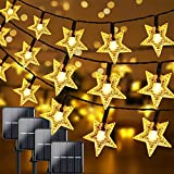 Extra-Long 4-Pack 400 LED Solar Star String Lights Outdoor 160FT, Waterproof Decorative Lights Each 40FT with 8 Lighting Modes, Solar Powered Garden Lights for Christmas Tree Party Wedding Patio Yard