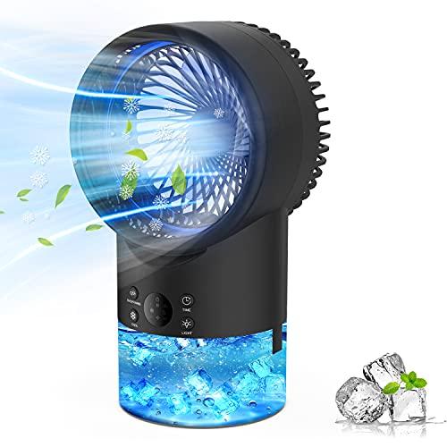 Refroidisseur d'air Portable Climatiseur Mobile, EEIEER 4-en-1 Climatiseur Portable Ventilateur Air Humidificateur Conditionneur Silencieux Mini Personnel Air Refroidisseur pour Maison & Bureau