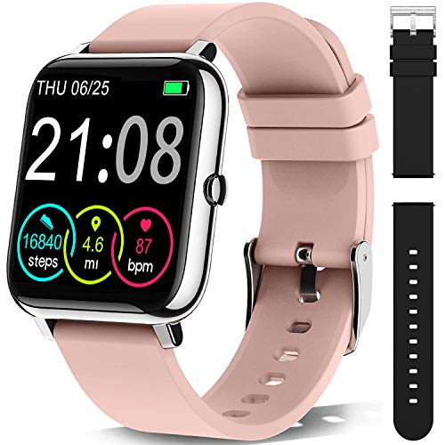 Smartwatch Orologio Fitness Uomo Donna Smart Watch Contapassi Cardiofrequenzimetro da Polso,Activity Tracker Cronometro, Notifiche Messaggi, Controller Fotocamera Musicale-con un cinturino nero extra