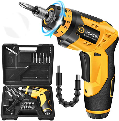 Cordless Screwdriver, VIGRUE Electric Screwdriver, Rechargeable 4V MAX 2000mAh Li-ion, with 45 Free Accessories, Battery Indicator, 7 Torque Setting, 2 Position Handle with LED Light, Flexible Shaft