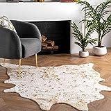 nuLOOM Iraida Faux Cowhide Shaped Rug, 3' 10' x 5', Off-white