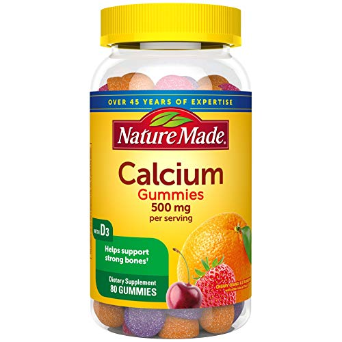Nature Made Calcium 500 mg Gummies, 80 Count for Bone Health (Packaging May Vary)