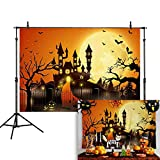 Allenjoy 7x5ft Happy Halloween Orange Backdrop Jack O'Lantern Pumpkin Moon Bat Graveyard Fence Scary Castle Photography Background Party Decorations Cake Table Banner Photo Studio Booth