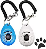 HSCCGI Dog Training Clicker, Puppy Clicker Trainer with Wrist StrapDurable Lightweight Easy to Use, Pet Training Clicker for Sound-Sensitive Animals, 2 Pack (White+Blue)